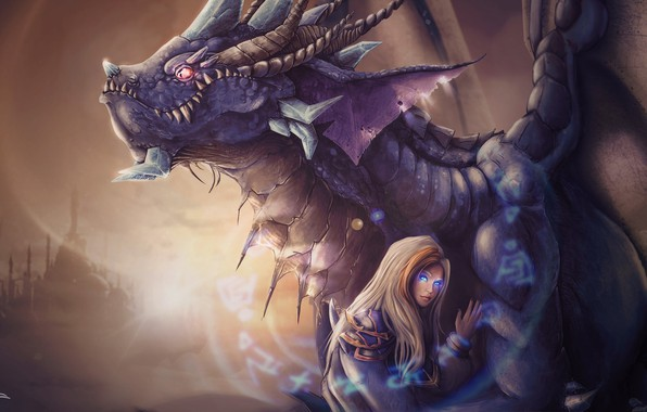 Picture girl, dragon, art, fantasy, illustration, manon bargier, Kalecgos & Jaina