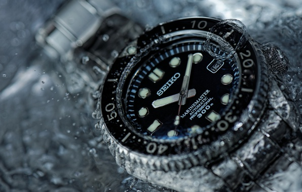 Picture water, macro, style, watch, Seiko