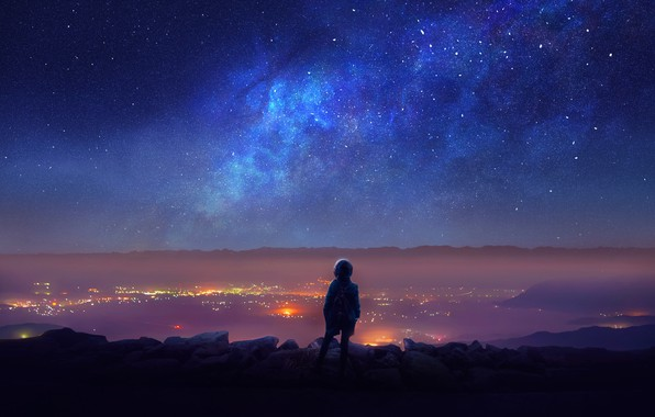 Picture The sky, Girl, Lights, Night, The city, Stars, People, Space, Synth, Sinti