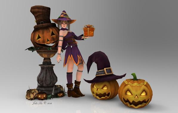 Picture girl, anime, pumpkin, Halloween, 3D graphics