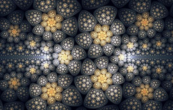 Picture flowers, texture, art, fractal, Tatyana Zabanova, Hyperflowers