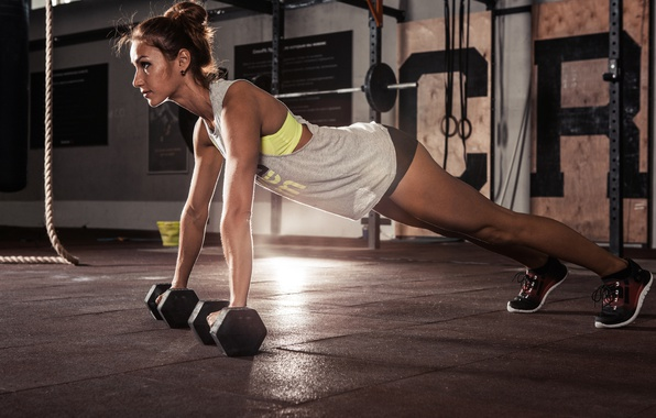 Picture woman, Fitness, dumbell