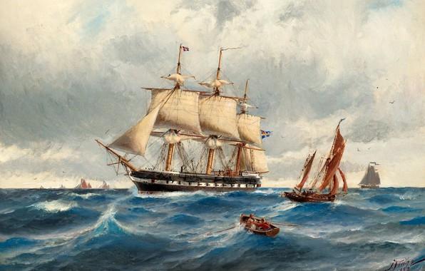 Picture Ships, The frigate Vanadis in the North sea, Jacob European Communities V United Kingdom, Marinmåleri