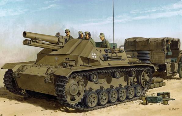Picture art, SAU, Pz.Kpfw.III, The second World war, WW2, The Wehrmacht, DAK, German Afrika Korps, on, …