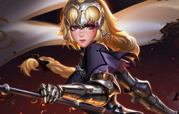 Picture girl, sword, blood, Fate/Stay Night, soldier, armor, weapon, anime, purple eyes, blonde, digital art, artwork, …