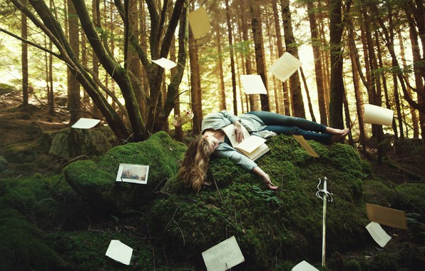 Picture forest, girl, trees, pose, fantasy, vegetation, moss, sleep, tale, sword, crown, hill, fantasy, blonde, sleeping, ...