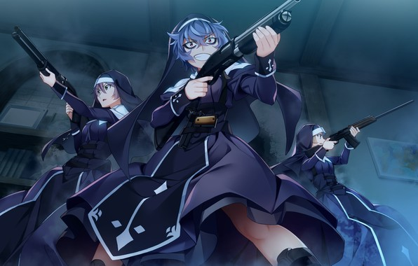 Picture night, weapons, girls, anime, Grisaia: Phantom Trigger