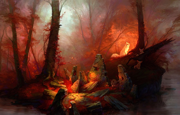 Photo wallpaper forest, stones, magic, art, forest, red magic