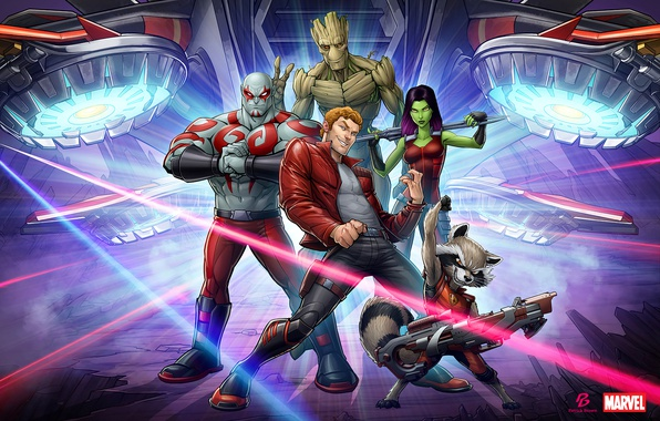 Picture Marvel, Patrick Brown, Rocket Raccoon, Gamora, Groot, Drax, Star Lord, Guardians Of The Galaxy