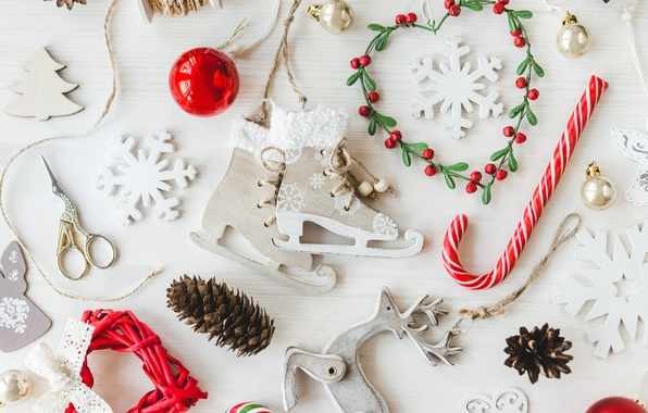 Picture New Year, Christmas, white, vintage, merry christmas, decoration