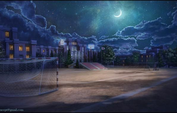 Wallpaper Night, The Building, Gate, Playground, School