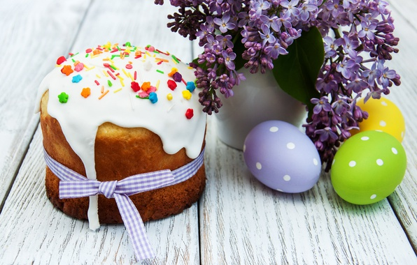 Picture flowers, Easter, cake, cake, flowers, cakes, lilac, glaze, spring, Easter, eggs, Happy, lilac, the painted …