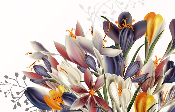Picture flowers, background, vector, texture