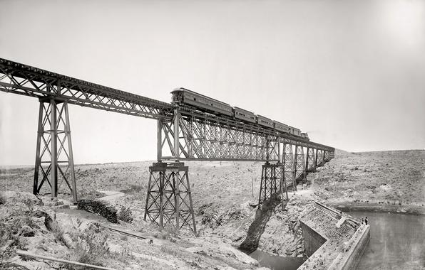 Picture bridge, retro, train, USA, 1891-the year