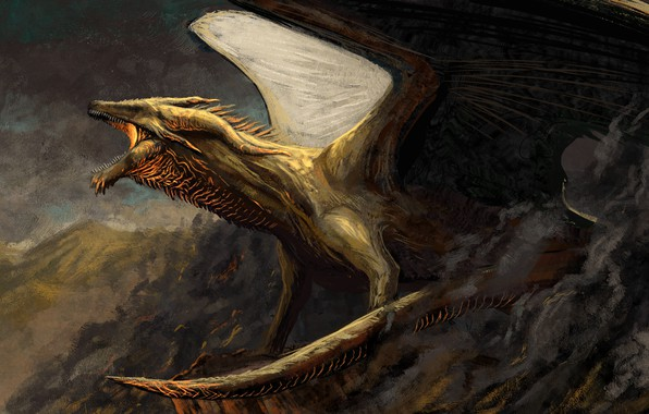 Picture mountains, dragon, wings, power, fantasy, art, mouth