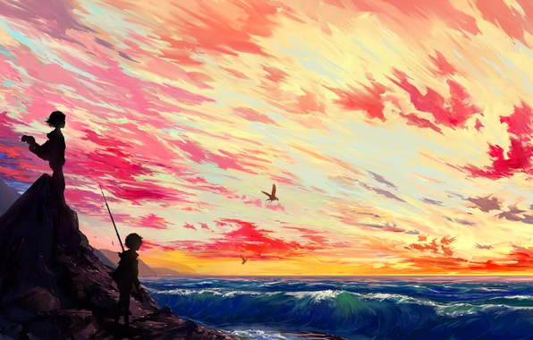 Picture sea, wave, the sky, the sun, Islands, clouds, sunset, birds, widescreen, island, anime, boy, art, …
