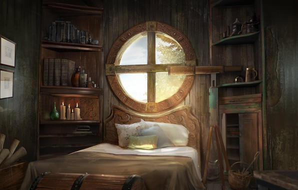 Picture room, bed, window, art, Tree House, Diamond Kitty Finding Her Johnson