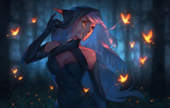 Picture forest, chest, girl, night, elf, spirit, dress, art