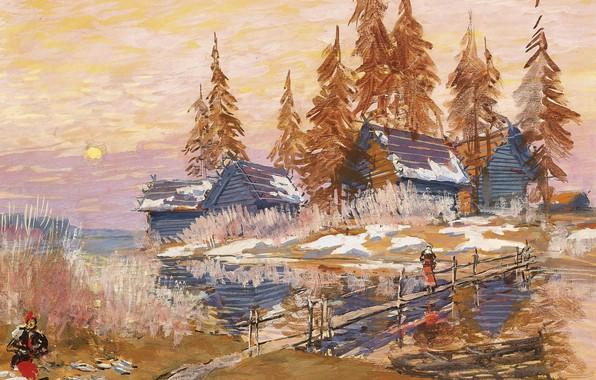 Picture trees, landscape, picture, village, the bridge, Konstantin Korovin, Late Winter