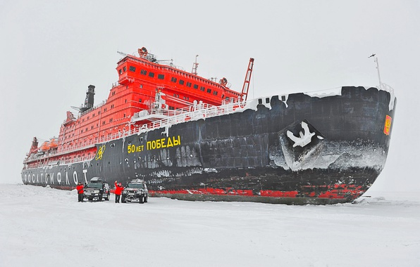 Picture Winter, Sea, Snow, Ice, The ship, Russia, 50 years of Victory, 10521, Atomflot, nuclear-powered icebreaker