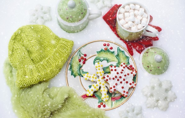 Picture winter, snow, snowflakes, hat, cookies, gloves, glaze, hot chocolate, marshmallows