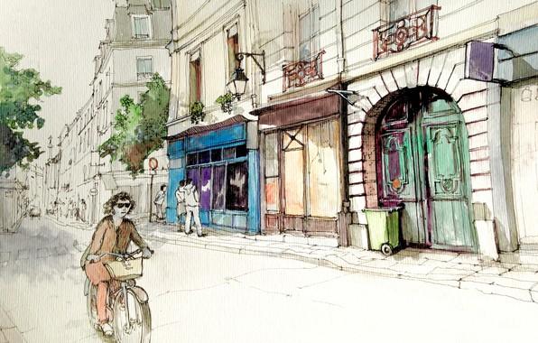 Picture street, figure, France, Paris, home, watercolor