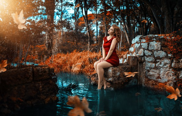 Picture dress, legs, in red, the water, Alessandro Di Cicco
