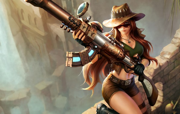 Picture Girl, The game, Shorts, Glasses, Girl, Hair, Hat, Weapons, Gun, Gun, Game, Sight, Shorts, League …