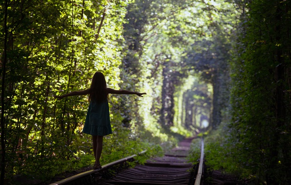 Picture green, silhouette, Trees, train tracks