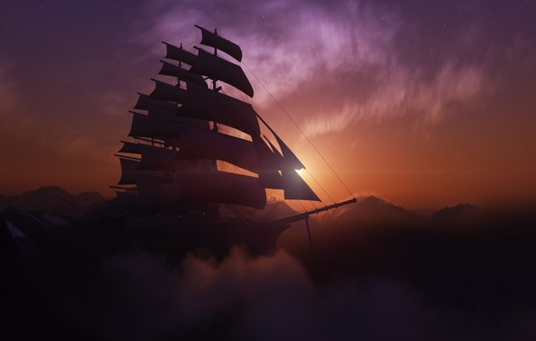 Picture the sun, sunset, mountains, ship, sailboat, brig