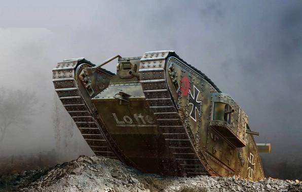 Picture art, tank, British, heavy, Mark IV, Trophy, The first World war