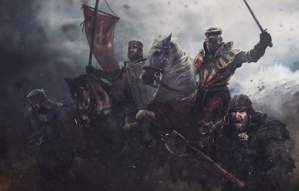 Picture weapons, horse, armor, flag, warrior, Knight