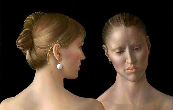 Picture blonde, 2010, earring, Figurative painting, Normunds Braslins, Innermost feelings, two women
