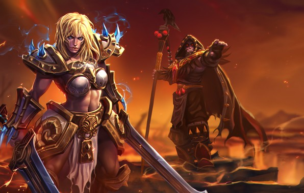 Picture girl, World of Warcraft, fantasy, game, Warcraft, Sonya, armor, blue eyes, weapons, blonde, digital art, …
