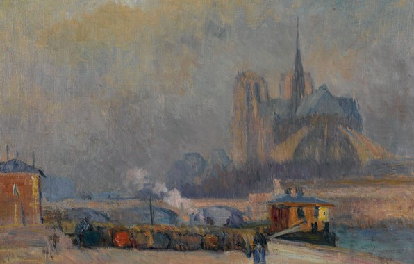 Picture picture, the urban landscape, Albert Charles Lebar, The Notre Dame Cathedral. View of the Waterfront …