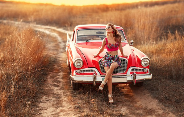 Picture smile, Girls, glasses, beautiful girl, red car