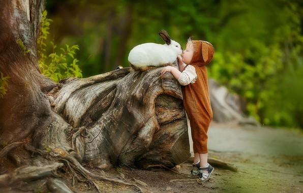 Picture kiss, boy, rabbit, baby, friendship, snag, friends, jumpsuit, child