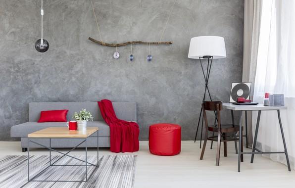 Photo wallpaper red, grey, sofa, interior, silk, House