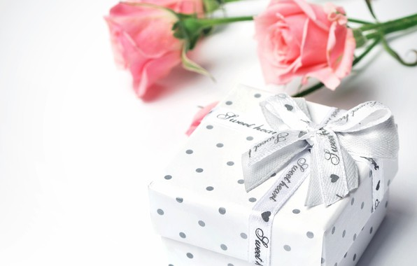 Picture box, gift, roses, bouquet, tape