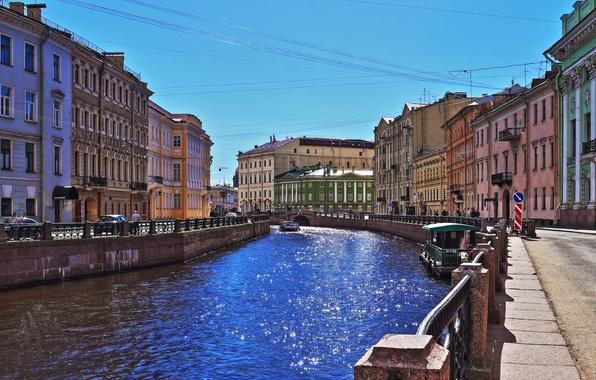 Picture river, paint, Sink, promenade, the sun glare, Saint Petersburg
