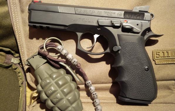 Picture gun, pistol, weapon, grenade, hand grenade, CZ 75, skuul, ShadoZ 75 Shadow
