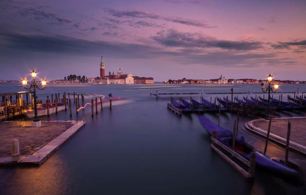 Picture island, the evening, pier, lights, Italy, Venice, Laguna, Italy, gondola, Venice, San Giorgio Maggiore, Venetian …