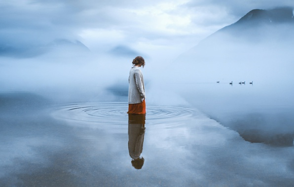 Picture water, girl, mountains, birds, fog, loneliness, mood, duck, pond