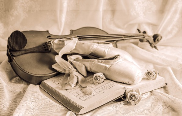 Picture notes, violin, roses, tape, still life, vintage, Pointe shoes
