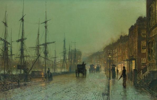 Picture ship, picture, mast, promenade, the urban landscape, John Atkinson Grimshaw, John Atkinson Grimshaw, The Docks …