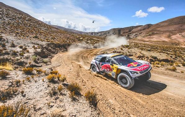Picture The sky, Sport, Speed, Helicopter, Race, Dirt, Peugeot, Lights, Red Bull, Rally, Dakar, Dakar, Rally, …