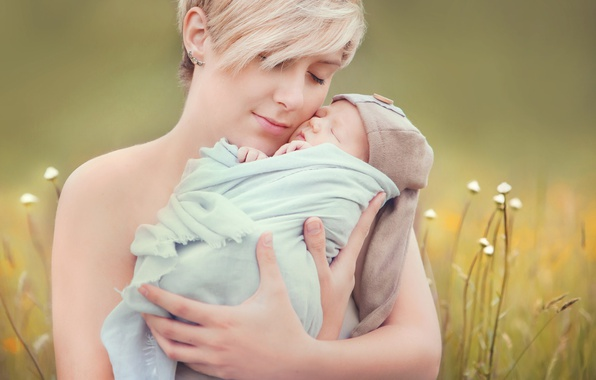 Picture grass, woman, child, baby, mother