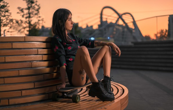 Picture girl, pose, mood, feet, the evening, shoes, tattoo, Board, skateboard, Denis Antipin