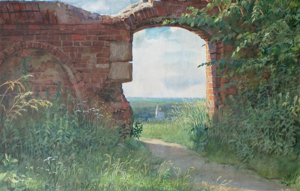 Picture greens, paper, Arch, path, tempera, red brick, Aibek Begalin, One thousand nine hundred eighty six, …