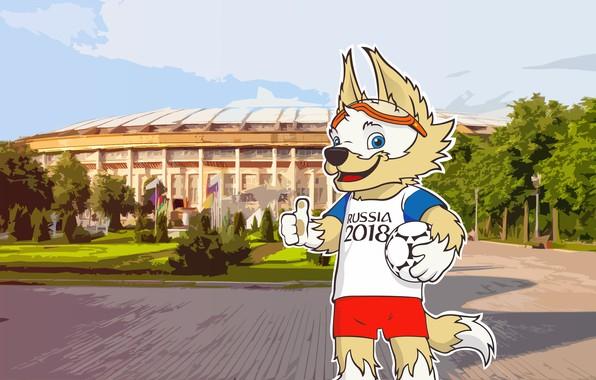 Picture Figure, The ball, Sport, Football, Wolf, Russia, Art, 2018, Stadium, FIFA, FIFA, Luzhniki, World Cup …